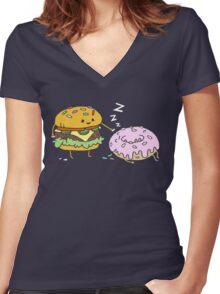 Cheeseburger Pranks Doughnut Women's Fitted V-Neck T-Shirt