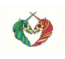 Heart Unicorns Art Print