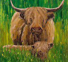 Scottish Highland Cow with Calf by RmvPortraitsArt