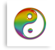 Glassy Rainbow Yin Yang Symbol Canvas Print
