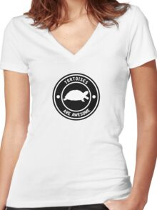 Tortoises are awesome (BLACK) Women's Fitted V-Neck T-Shirt