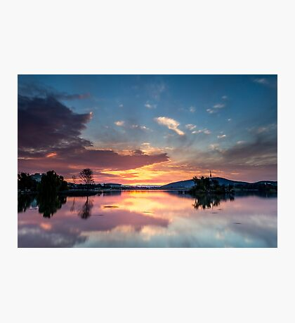 Sunset over lake in Canberra Photographic Print
