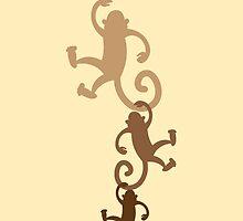 Three hanging monkeys! by jazzydevil