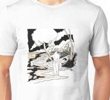 Man on the beach with dog Unisex T-Shirt