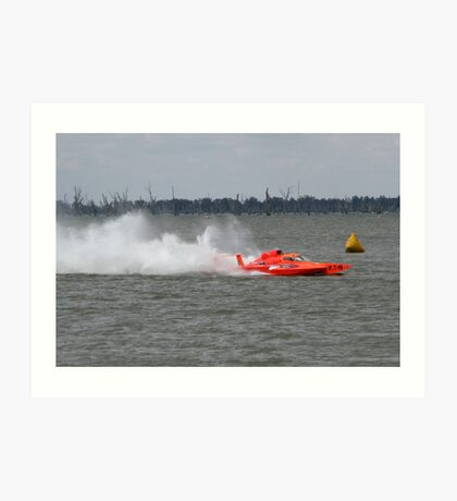 Racing boat returning to the lake bank after the race Art Print