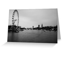 A view along the Thames towards the London Eye and the Houses of Parliment. Greeting Card