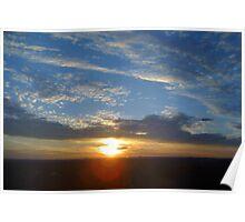 Larravide Blue Orange Sunset Poster