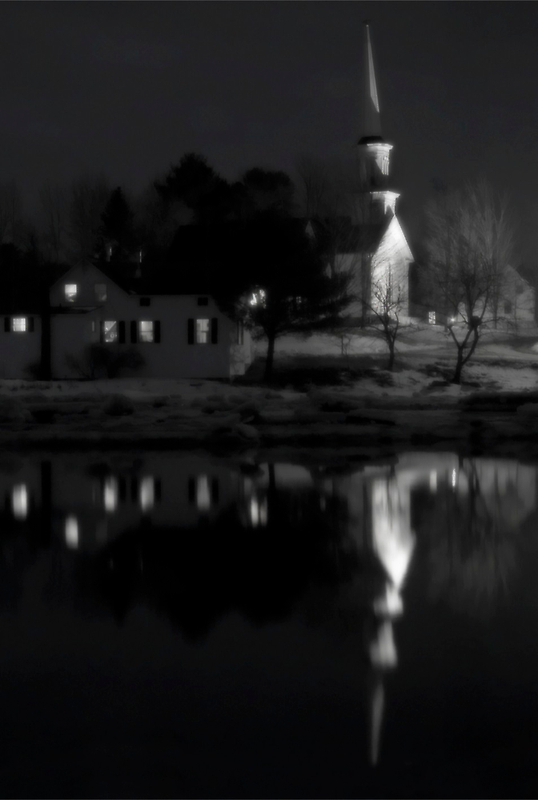 Church Reflection, Sheepscot Maine by Dave  Higgins