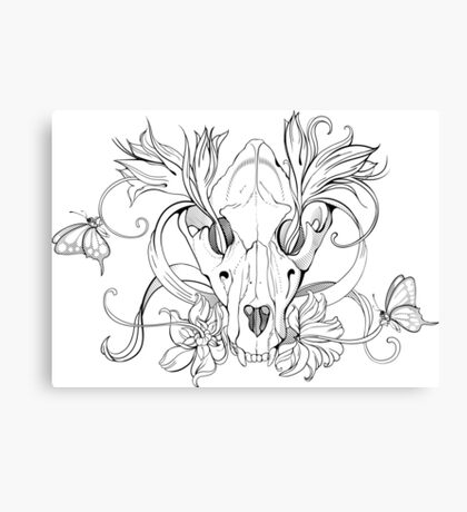 black and white animal skull with flowers in graphic style Canvas Print