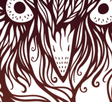 owl in graphical floral style Sticker