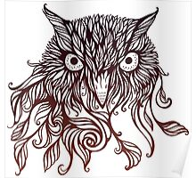owl in graphical floral style Poster