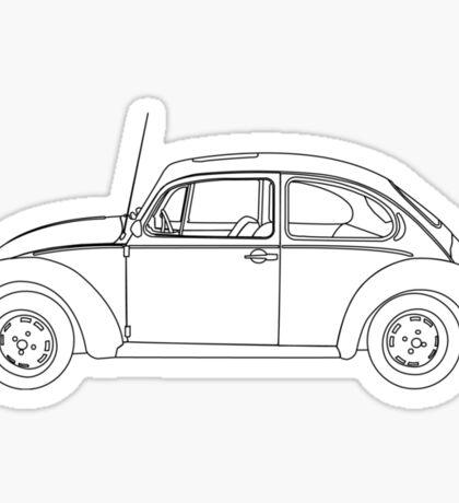 Wireframe Beetle Black Sticker