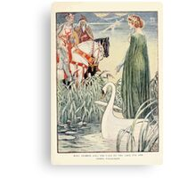 King Arthur's Knights - The Tale Retold for Boys and Girls by Sir Thomas Malory, Illustrated by Walter Crane 55 - King Arthur Asks the Lady of the Lake for the Sword Excalibur Canvas Print