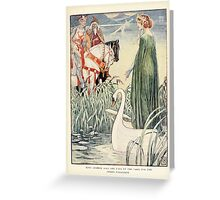 King Arthur's Knights - The Tale Retold for Boys and Girls by Sir Thomas Malory, Illustrated by Walter Crane 55 - King Arthur Asks the Lady of the Lake for the Sword Excalibur Greeting Card