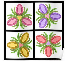 Tiled Foot Flowers Poster