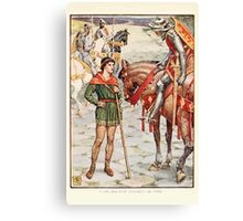 King Arthur's Knights - The Tale Retold for Boys and Girls by Sir Thomas Malory, Illustrated by Walter Crane 199 - Young Perceval Questions Sir Owen Canvas Print
