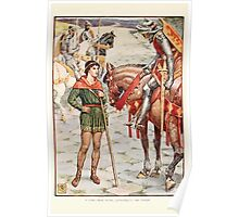 King Arthur's Knights - The Tale Retold for Boys and Girls by Sir Thomas Malory, Illustrated by Walter Crane 199 - Young Perceval Questions Sir Owen Poster