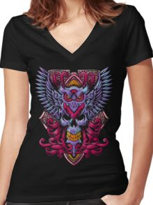 Death Owl Women's Fitted V-Neck T-Shirt