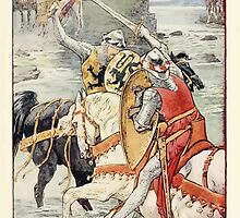 King Arthur's Knights - The Tale Retold for Boys and Girls by Sir Thomas Malory, Illustrated by Walter Crane 109 - Beaumains Wins the Fight at the Ford by wetdryvac