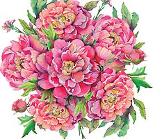 bouquet of peony flowers with decoration of leaves and branches 2 by Nadiiaz