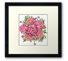 bouquet of peony flowers with decoration of leaves and branches 2 Framed Print