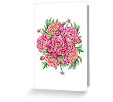 bouquet of peony flowers with decoration of leaves and branches 2 Greeting Card