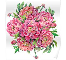 bouquet of peony flowers with decoration of leaves and branches 2 Poster