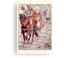 King Arthur's Knights - The Tale Retold for Boys and Girls by Sir Thomas Malory, Illustrated by Walter Crane 179 - Ser Geraint and the Lady Enid in the Deserted Roman Town Canvas Print