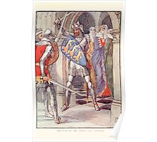 King Arthur's Knights - The Tale Retold for Boys and Girls by Sir Thomas Malory, Illustrated by Walter Crane 345 - The Fight in the Queen's Anti Chamber Poster