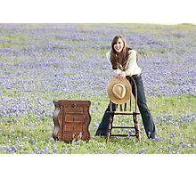 Blue Bonnet Joy Photographic Print