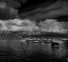Monochrome Study St Paul's Bay Malta by Edwin  Catania