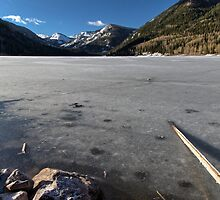 Frozen Smith and MoreHouse reservoir in Utah with log  by Alan Mitchell