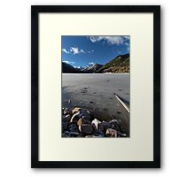 Frozen Smith and MoreHouse reservoir in Utah with log  Framed Print