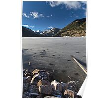 Frozen Smith and MoreHouse reservoir in Utah with log  Poster