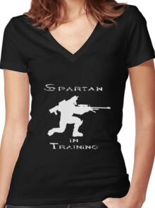 Spartan In Training Women's Fitted V-Neck T-Shirt