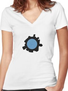 it's a small world... Women's Fitted V-Neck T-Shirt
