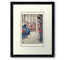 King Arthur's Knights - The Tale Retold for Boys and Girls by Sir Thomas Malory, Illustrated by Walter Crane 251 - Sir Awen Greets the Lady of the Fountain Framed Print