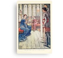 King Arthur's Knights - The Tale Retold for Boys and Girls by Sir Thomas Malory, Illustrated by Walter Crane 251 - Sir Awen Greets the Lady of the Fountain Canvas Print