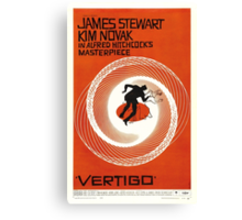 Theatrical poster of Vertigo. Art by Saul Bass. Canvas Print