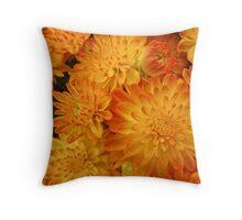 Fire Orange Chrysanthemums Throw Pillow