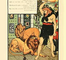 Cinderella Picture Book containing Cinderella, Puss in Boots, and Valentine and Orson Illustrated by Walter Crane 1911 54 - The Green Knight Chained by wetdryvac