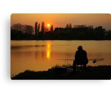 Angler at sunset Canvas Print