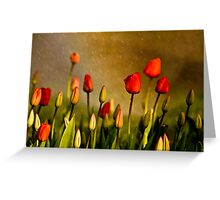 Spring Rain Over The Red Tulips Greeting Card