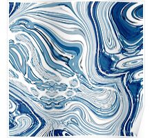 modern chic nautical beach blue watercolor ocean waves Poster