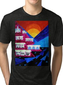 White Resort Sunset Tri-blend T-Shirt