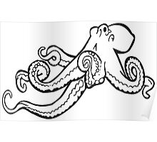 Octopus Ink Drawing Poster