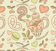 Tea party vector seamless pattern by julkapulka