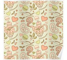 Tea party vector seamless pattern Poster