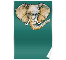 Floating Elephant Head - colorized Poster