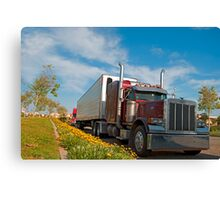 Red commercial truck Canvas Print